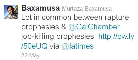 Lot in common between rapture prophesies & @CalChamber job-killing prophesies