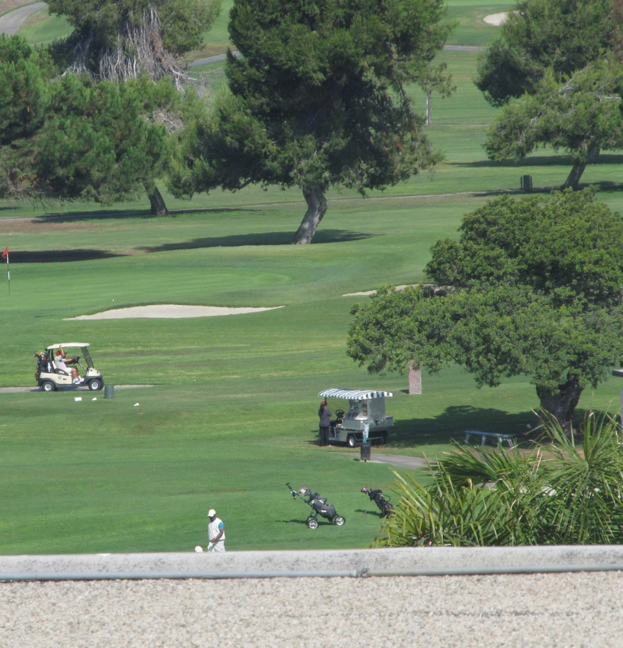 The view overlooking a golf course -- from my fancy digs on Mission Gorge Road in the exclusive neighborhood of Allied Gardens