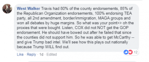Travis Allen had 80% of the county endorsements, 85% of the Republican Organization endorsements, 100% endorsing TEA party, all 2nd amendment, border/immigration, MAGA groups and won all debates by huge margins. So what was your point>> oh the proxies that were bought. Listen, COX did not NOT get the GOP endorsement. He should have bowed out after he failed that since the counties did not support him. So he was able to get McCarthy -- and give Trump bad intel. We'll see how this plays out nationally because Trump WILL find out.